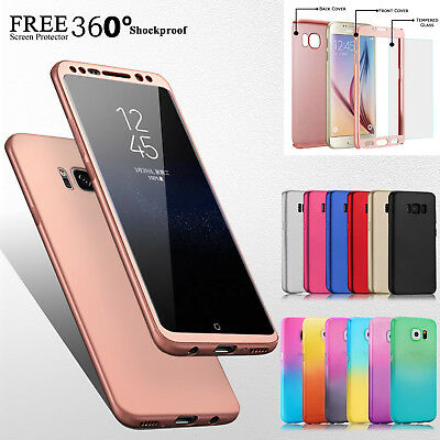 Hybrid 360° Hard Case+Tempered Glass Full Cover For Samsung Galaxy S9 S8 J3 A3