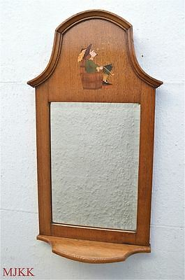 Beautiful original Arts & Crafts oak wall mirror inlaid man smoking pipe