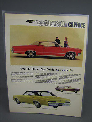 Vintage 1966 Chevrolet Caprice Custom Series Automobile Full-Page Advertisement