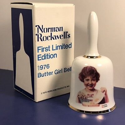 1976 Norman Rockwell Bell Butter Girl First Limited Edition 1St Nib Box Heirloom