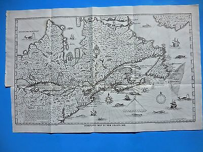 """ANTIQUE MAP """"CHAMPLAIN'S MAP NEW FRANCE1632"""", by R.H. PEASE & 21p. text 1849"""