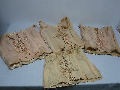 4 Antique Lace Up Corsets Girdles ~ Boned ~ Heavy Cotton