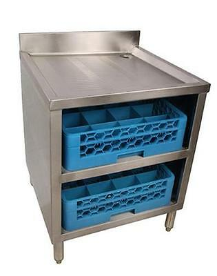 BK Resources Underbar Glass Rack w/ Drainboard Top and Open Front Base