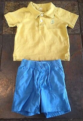 Baby Gymboree Boys Size 3-6 Months Mustard Yellow And Blue 2 Piece Outfit