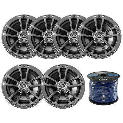 "6 Infinity 6.5"" Coaxial Marine 2Way 225W Speakers, 50 Feet 16 Gauge Speaker Wire"