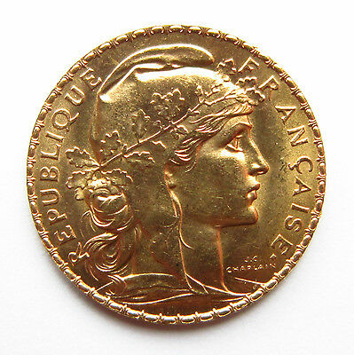 French  Capsuled Gold  20 Francs Coin 1910 With Lustre