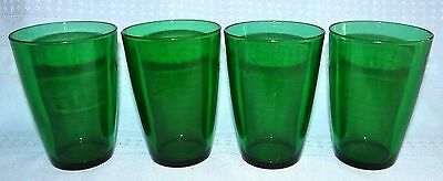 4 Vtg Anchor Hocking Forest Green 8 Ounce Water Tumbler Glasses Set Charm?