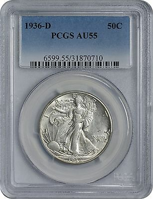 1936-D Walking Liberty Half AU55 PCGS Almost Uncirculated 55