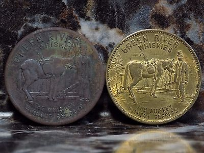 Lot of 2 Green River Whiskey Tokens Vintage Lucky Liquor Advertising Exonumia