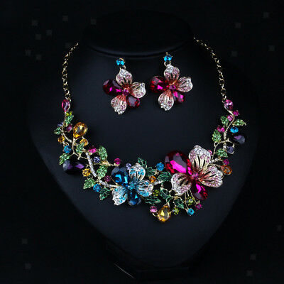 Women Multicolor Crystal Flower Pendant Necklace Earrings Jewelry Set Prom