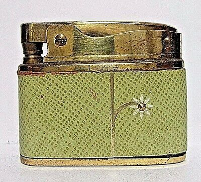 Vintage Buxton Lighter, Green Leather Wrap, Working Condition, Made In Japan