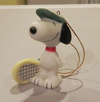 Vintage Snoopy Tennis Player Porcelain Ornament Willitts Peanuts Sports Series
