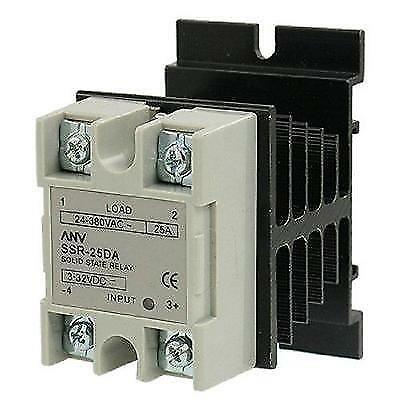 uxcell SSR-25 DA 25A 3-32V DC / 24-380V AC Solid State Relay + Heat Sink New