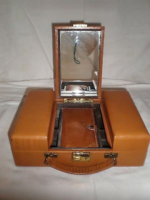 VTG Leather Travel Vanity Case w/ Mirror, Trip-Mode, Loyal, Top Grain Cowhide