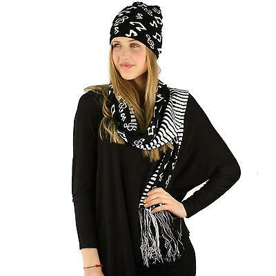 Unisex 2pc Winter Thick Knit Piano Music Notes Beanie Hat Scarf Ski Set Black