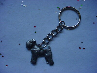 WHEATEN TERRIER Silver PEWTER DOG KEYCHAIN / CHRISTMAS ORNAMENT Key Chain Ring