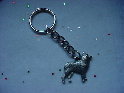 SCHIPPERKE dog PEWTER Silver KEYCHAIN Christmas ornament puppy Key Ring NEW