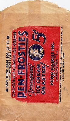 Scarce 1932 Glassine Cover: PEN-FROSTIES, ICE CREAM ON A STICK, LANCASTER, PA