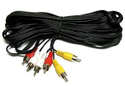 30ft Premium 3 RCA L + R + V Composite Extension Audio Video AV Cable Cord Us