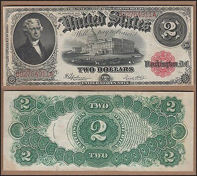 1917 United States $2 Note Red Seal Large Size