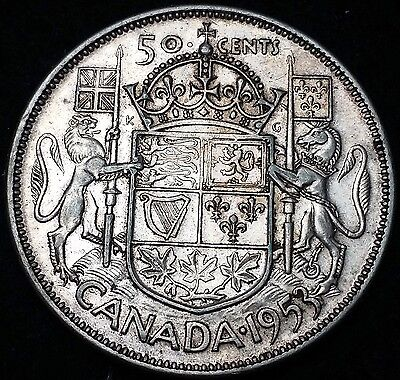 1953 Canada Silver 50 Cents Half Dollar - Large Date, No Shoulder Fold Variety