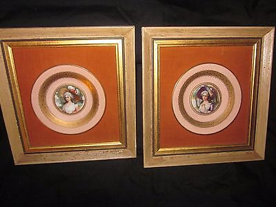 Antique Set Handpainted Gilted Porcelain Portrait Plates In Shadow Boxes
