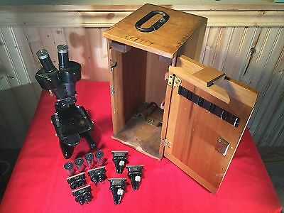Vintage Bausch And Lomb Optical Microscope Pat. In Original Box