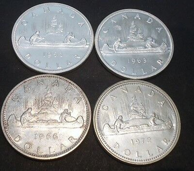 Canada Silver Dollars, Lot of 4