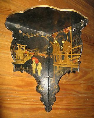 Antique 19thC Japanese Folding Wall Shelf Sconce Lacquer Paper Mache