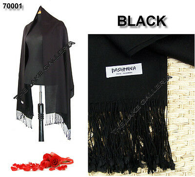 Plain Color Black 100% Pure Real Pashmina Cashmere Wool Shawl Wrap Scarf New