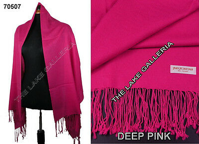 Plain Color Deep Pink 100% Real Pashmina Cashmere Wool Shawl Wrap Scarf New