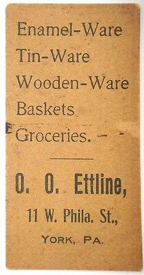 Cardboard token - O.O. Ettine, York, Pa. 1½ cents for Glass and Queensware only