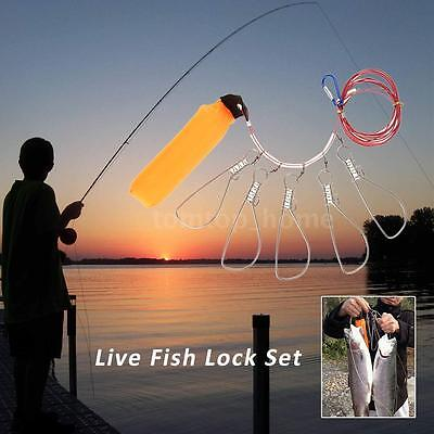Fishing Stringer Fish Lock 5 Snaps Lanyard Rope Cord with Float I3H6