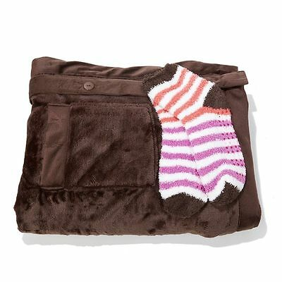 Concierge Collection Soft & Cozy Glimmersoft Angel Wrap and Sock Set Brown NEW