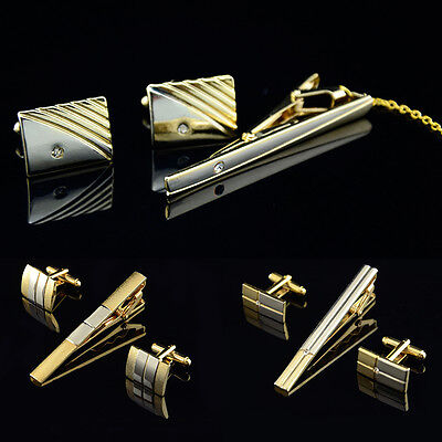 New Men Metal Necktie Tie Bar Clasp Clip Cufflinks Sets Gold Simple Party Gift