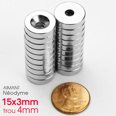 Lot Aimant Néodyme Rond Fort Puissant Neodium Hole Magnet 15mm x 3mm + TROU 4mm