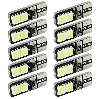 10pcs CANBUS ERROR FREE LED White T10 168 194 W5W Wedge 4 SMD 5050 Lights bulbs