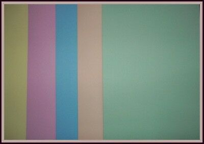 A4 COLOURED PAPER x 25  -  5 PASTEL COLOURS - Cardmaking/Scrapbooking
