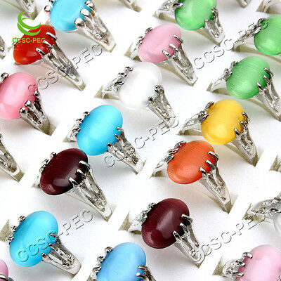 wholesale lots of 20pcs colourful natural cat eye gemstone stone silver P rings
