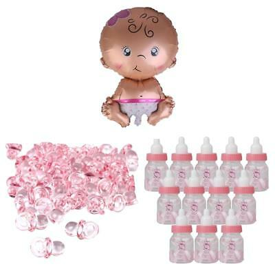 Pink Pacifier Charms Baby Bottles Girl Balloon Baby Shower Christening Gifts