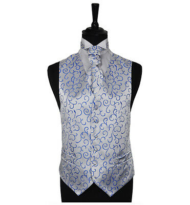 "Men's Blue Scroll Wedding Party Waistcoat - Size 34"" - 60"" Choice Cravat or Tie"