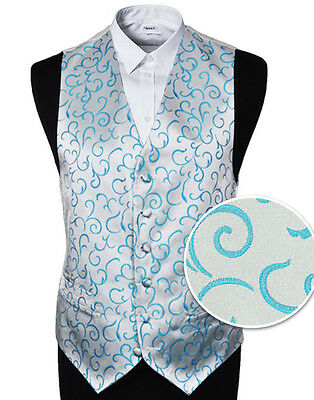"Men's Aqua Scroll Wedding Party Waistcoat - Size 34"" - 60"" With or Without Tie"