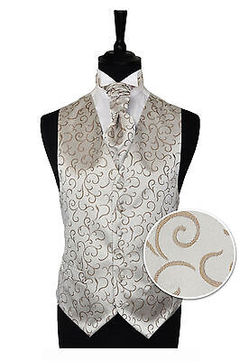 "Men's Coffee Scroll Wedding Party Waistcoat -Size 34"" - 60"" Choice Cravat or Tie"