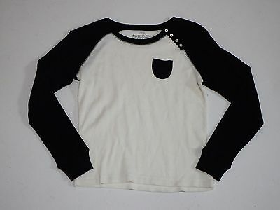 Faded Glory Girl's Long Sleeve Thermal T Shirt Large 10-12 White Black