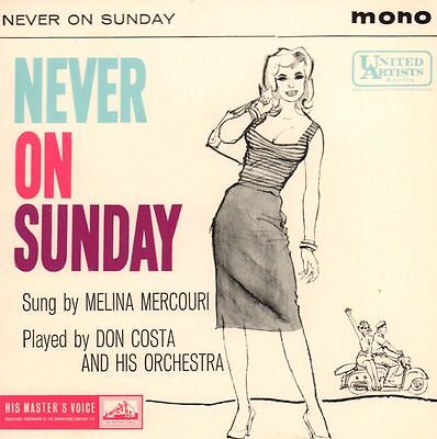 "Melina Mercouri(7"" Vinyl P/S)Never On A Sunday EP-HMV-7EG 8701-UK-1960-Ex/Ex"
