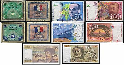 FRANCE Banknotes. Choice of Notes
