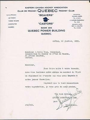 1932 Quebec Beavers Hockey Signed Letter By Club Owner Lucien Garneau