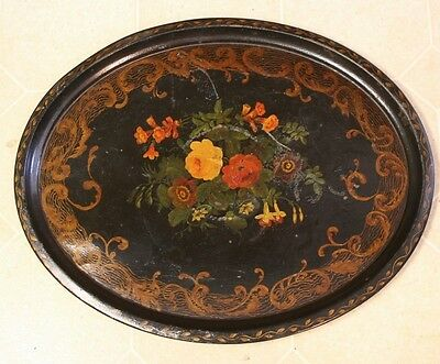 "Antique Tin Hand Painted Floral Decorated Toleware Tole Tray ~24.5"" x 19.5"""
