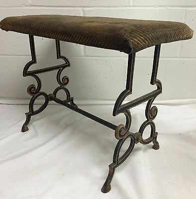 ANTIQUE 1800s CAST IRON BASE UPHOLSTERED PIANO VANITY FIRESIDE BENCH STOOL