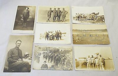 Lot of 8 Old Antique WWI UNITED STATES MILITARY Real Photo POSTCARDS RPPC